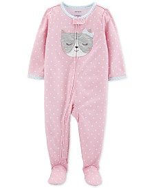 Carter's Toddler Girls 1-Pc. Dot-Print Cat Footed Pajamas