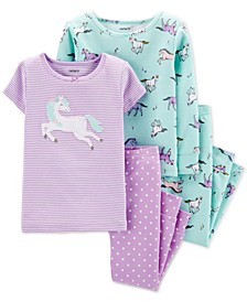 Toddler Girls 4-Pc. Cotton Unicorn Pajama Set