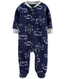 Baby Boys Vehicles-Print Fleece Footed Coverall