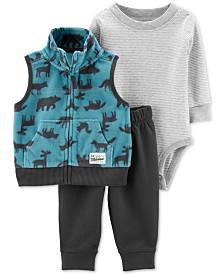 Carter's Baby Boys 3-Pc. Wildnerness-Print Vest, Striped Bodysuit & Jogger Pants Set