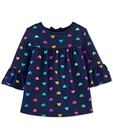 Toddler Girls Cotton Bell Sleeve Heart-Print Top