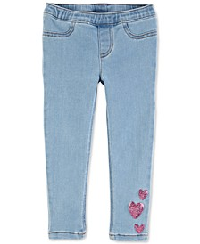 Toddler Girls Sequin Heart Jeggings