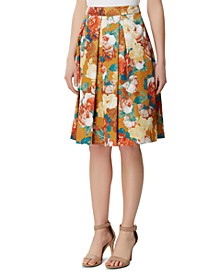 Floral-Print Inverted-Pleat Skirt