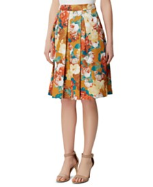 Tahari ASL Petite Floral Box-Pleat Skirt