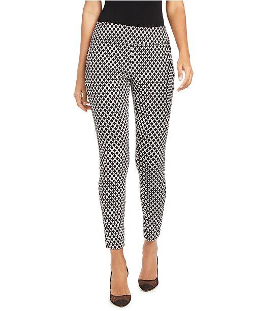INC International Concepts INC Curvy-Fit Diamond Jacquard Skinny Pants, Created for Macy's