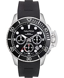 Men's NAPBSC904 Bayside Chrono Solar Black/Silver Silicone Strap Watch