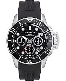 Nautica Men's NAPBSC904 Bayside Chrono Solar Black/Silver Silicone Strap Watch