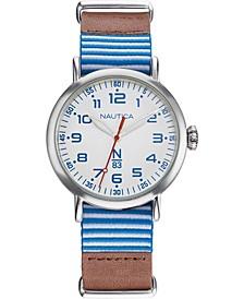 N83 Men's NAPWLS904 Wakeland Brown/Blue/White Stripe Leather Strap Watch