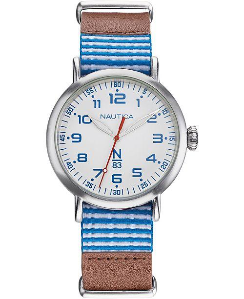 Nautica N83 Men's NAPWLS904 Wakeland Brown/Blue/White Stripe Leather Strap Watch