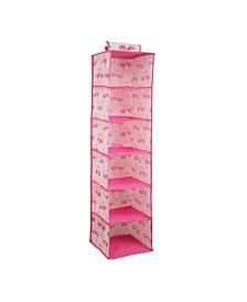 Kids 6 Shelf Hanging Organizer in Pretty Flamingo