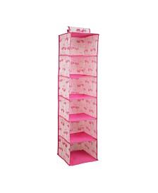 Laura Ashley Kids 6 Shelf Hanging Organizer in Pretty Flamingo