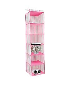 Laura Ashley Kids 6 Shelf Hanging Organizer in Painterly Pink Stripe