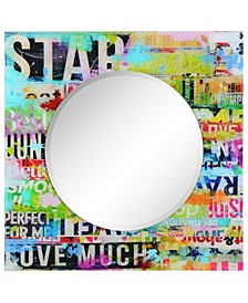 """Reverse Printed Tempered Art Glass with Round Beveled Mirror Wall Decor 36"""" x 36"""""""