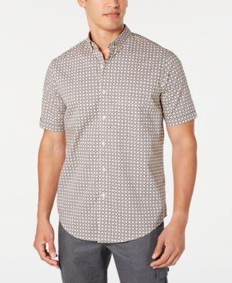 Men's Stretch Herringbone Geo-Print Shirt, Created for Macy's
