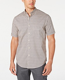 Men's Stretch Herringbone Geo-Print Shirt, Created for Macy's