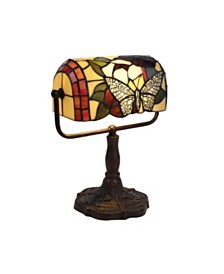 Lavish Home Tiffany Style Bankers Lamp-Stained Glass Butterfly Design Table Lamp