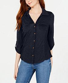 Crave Fame Juniors' Roll-Sleeve Button-Front Shirt
