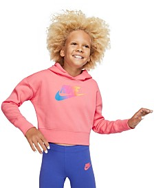 Nike Big Girls Rainbow Logo Cropped Hoodie