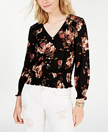 Juniors' Printed Smock-Hem Top, Created for Macy's