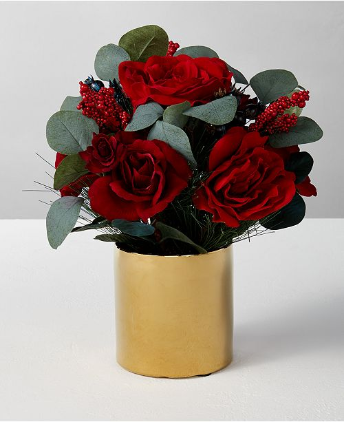 Martha Stewart Collection Rose & Pine Artificial Arrangement, Created for Macy's