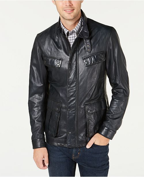 Barbour International Steve McQueen  Men's Sendle Leather Jacket, Created For Macy's