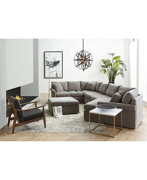 Wedport 5-Pc. Fabric L Shape Modular Sectional Sofa with Wedge Corner  Piece, Created for Macy\'s