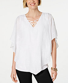 JM Collection Petite Embroidered Poncho Top, Created for Macy's