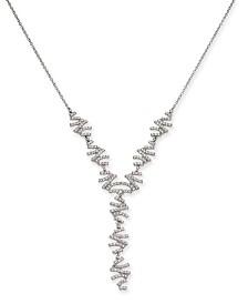 I.N.C. Silver-Tone Crystal Zig-Zag Lariat Necklace