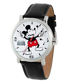 EwatchFactory Men's Disney Mickey Mouse Black Strap Watch 44mm