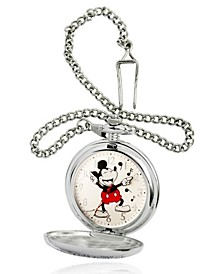 Men's Disney Mickey Mouse Silver Chain Pocket Watch 51mm