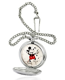EwatchFactory Men's Disney Mickey Mouse Silver Chain Pocket Watch 51mm