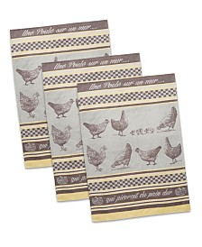 French Une Poule Jacquard Dishtowel, Set of 3