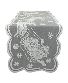 """Lace Snow Village Table Runner 14"""" x 72"""""""