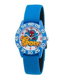 EwatchFactory Boy's Marvel's Super Hero Adventure Spider-Man Blue Plastic Time Teacher Strap Watch 32mm