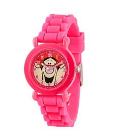 EwatchFactory Girl's Disney All About Me Portfolio Tigger Pink Plastic Time Teacher Strap Watch 32mm