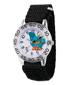 EwatchFactory Girl's Disney Timothy Q. Mouse Dumbo Black Plastic Time Teacher Strap Watch 32mm