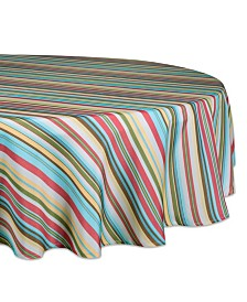 "Summer Stripe Outdoor Tablecloth 60"" Round"