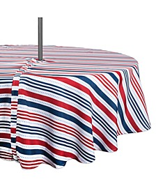 """Patriotic Stripe Outdoor Tablecloth with Zipper 52"""" Round"""