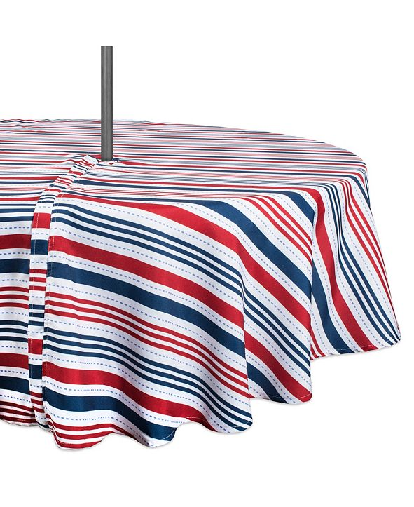 "Design Imports Patriotic Stripe Outdoor Tablecloth with Zipper 60"" Round"
