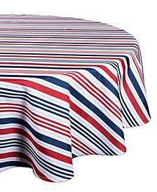 "Patriotic Stripe Outdoor Tablecloth 60"" Round"