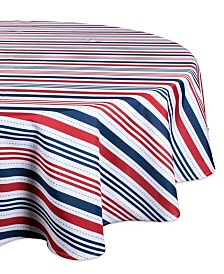 "Patriotic Stripe Outdoor Tablecloth 60"" Round"