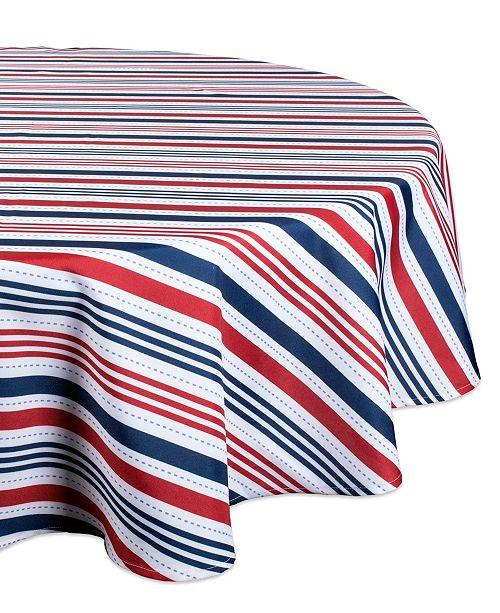 "Design Imports Patriotic Stripe Outdoor Tablecloth 60"" Round"
