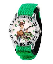 EwatchFactory Boy's Disney Toy Story 4 Woody, Buzz Lighter Green Plastic Time Teacher Strap Watch 32mm