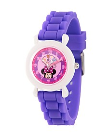 EwatchFactory Girl's Disney Minnie Mouse Purple Plastic Time Teacher Strap Watch 32mm