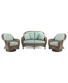 Sandy Cove Outdoor Wicker 3-Pc. Seating Set (1 Loveseat and 2 Swivel Gliders), Created for Macy's