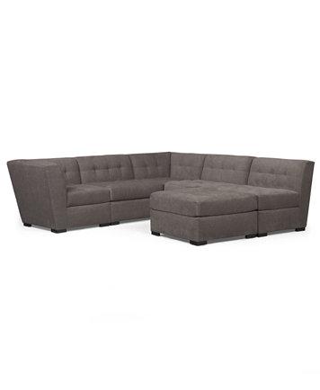 Roxanne Fabric 6 Piece Modular Sectional Sofa W Ottoman