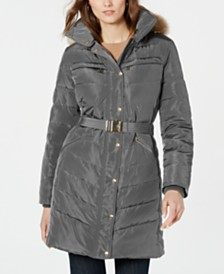 Michael Michael Kors Belted Faux-Fur-Trim Down Puffer Coat, Created for Macy's