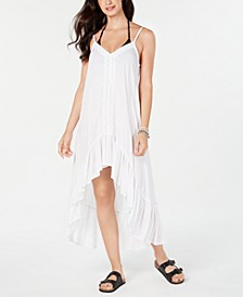 Crochet-Trim High-Low Cover-Up Dress