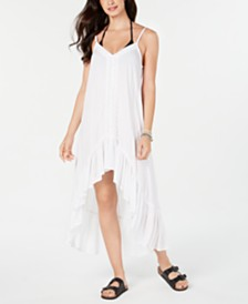 Raviya Crochet-Trim High-Low Cover-Up Dress