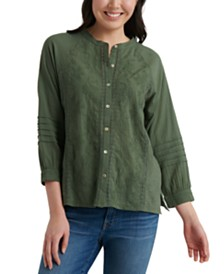 Lucky Brand Cotton Embroidered Blouse